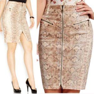 Guess snakeskin embossed moto pencil skirt